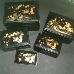 5 Chinese Black Lacquer Abalone Nesting Boxes
